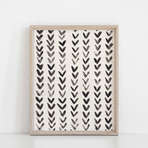 Ink Arrows Wall Art Print | Minimalist Art | Modern Art | Pattern Art | Black Art | Abstract Art | Watercolor Art | 5x7 8x10 11x14