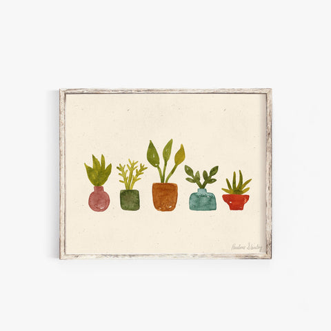 Little Plant in Vases Wall Art Print | Minimalist Art | Modern Art | Watercolor Art | Earthy Art | Plant Art | Nature Art | 5x7 8x10 11x14