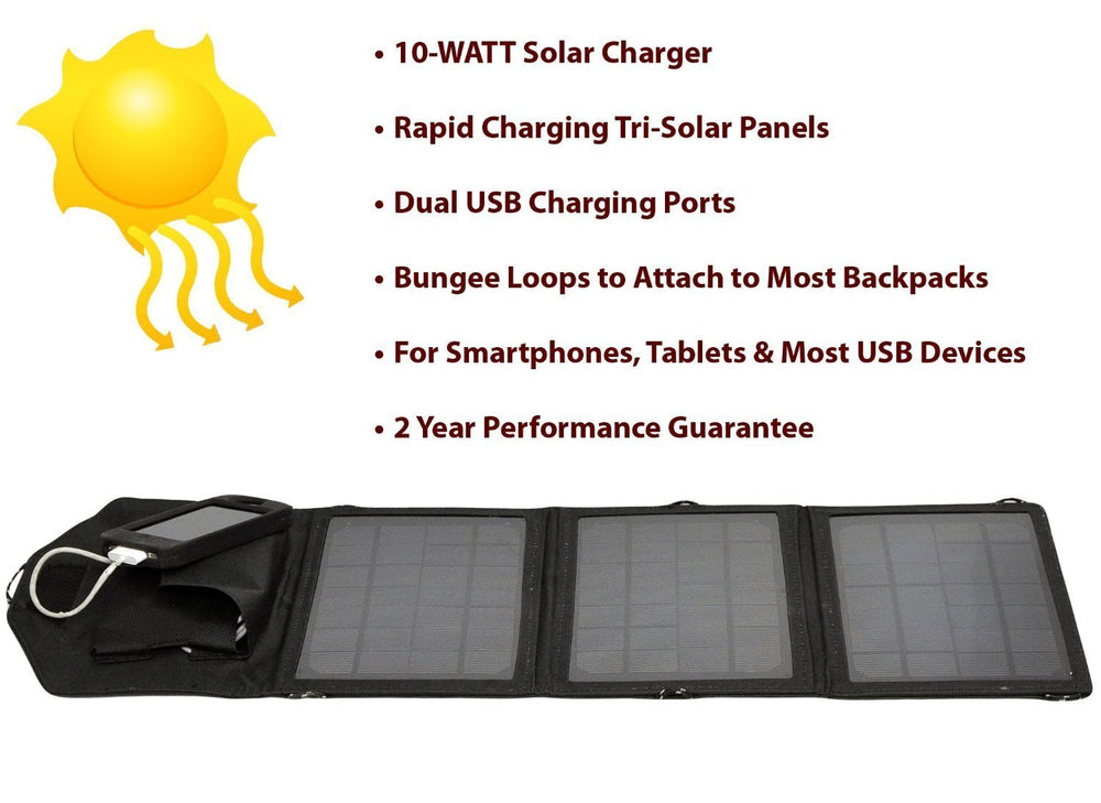 Opteka SP-10W Universal 10-WATT Triple-Panel Rapid Solar Charger with 2 USB Ports for Apple iPhone 3G, 4, 4S, 5, 5S, iPad 1, 2, 3, 4, iPod Touch, Nano & Shuffle
