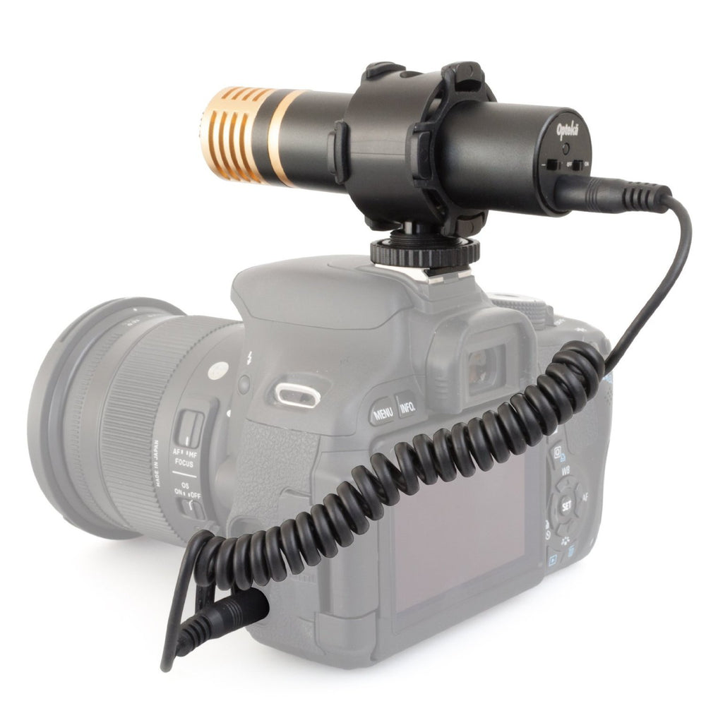 Opteka VM-2000 Gold Series Stereo Video Shotgun Microphone with Shock Mount for Digital SLR Cameras & Camcorders