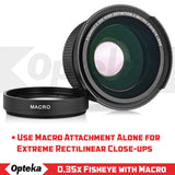 Opteka .35x HD Super Wide Angle Panoramic Macro Fisheye Lens (52MM/58MM/67MM) for Canon EOS 7D, 6D, 5D, 5Ds, 1Ds, 80D, 77D, 70D, 60D, 60Da, 40D, T7s, T7i, T6s, T6i, T6, T5i, T5, T4i, T3i and SL1 Digital SLR Cameras