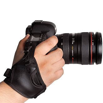 Opteka GS-2 Genuine Leather Ergonomic Stabilizing Hand Grip Strap for Digital SLR Cameras