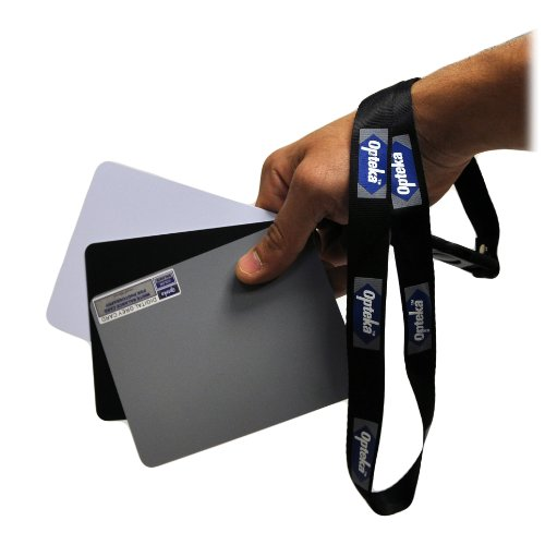 "Opteka Medium 5"" X 4"" inches Color and White Balance Reference Grey Card Set With Quick-Release Neck Strap for Digital Photography"