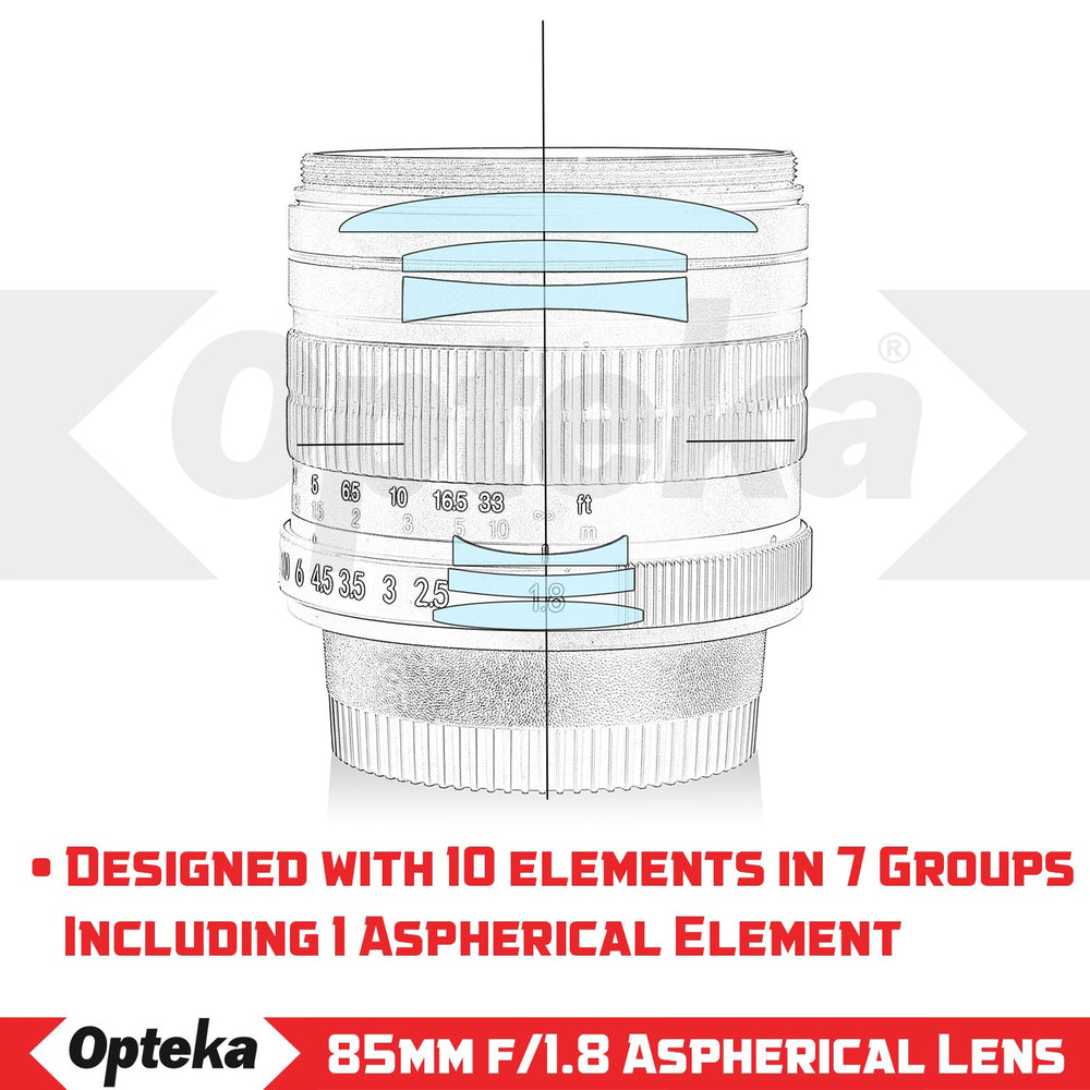 Opteka 85mm f/1.8 Manual Focus Aspherical Telephoto Portrait Lens for Sony NEX E-Mount a9, a7r, a7s, a7, a6500, a6300, a6000, a5100, a5000, NEX-7, NEX-6, NEX-5T, NEX-5R & Digital Mirrorless Cameras