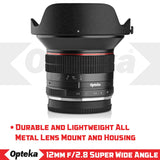 Opteka 12mm f/2.8 HD MC Manual Focus Prime Wide Angle Lens for Fuji X