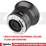 Opteka 12mm f/2.8 HD MC Manual Focus Prime Wide Angle Lens for Nikon 1 Mount CX Format Digital Cameras