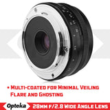 Opteka 28mm f/2.8 HD MC Manual Focus Prime Lens for Sony E Mount Digital Cameras