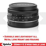 Opteka 28mm f/2.8 HD MC Manual Focus Prime Lens for Canon EOS-M Mount APS-C Digital Cameras