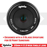 Opteka 28mm f/2.8 HD MC Manual Focus Prime Lens for M43 Mount Digital Cameras