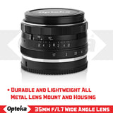 Opteka 35mm f/1.7 HD MC Manual Focus Prime Lens for M43 Mount Digital Cameras