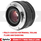 Opteka 35mm f/1.7 HD MC Manual Focus Prime Lens for Canon EOS-M Mount APS-C Digital Cameras