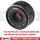 Opteka 35mm f/1.7 HD MC Manual Focus Prime Lens for Nikon 1 Mount Digital Cameras