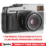 Opteka 35mm f/1.7 HD MC Manual Focus Prime Lens for Fuji X Mount APS-C Digital Cameras