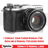 Opteka 50mm f/2.0 HD MC Manual Focus Prime Lens for Canon EOS-M Mount APS-C Digital Cameras