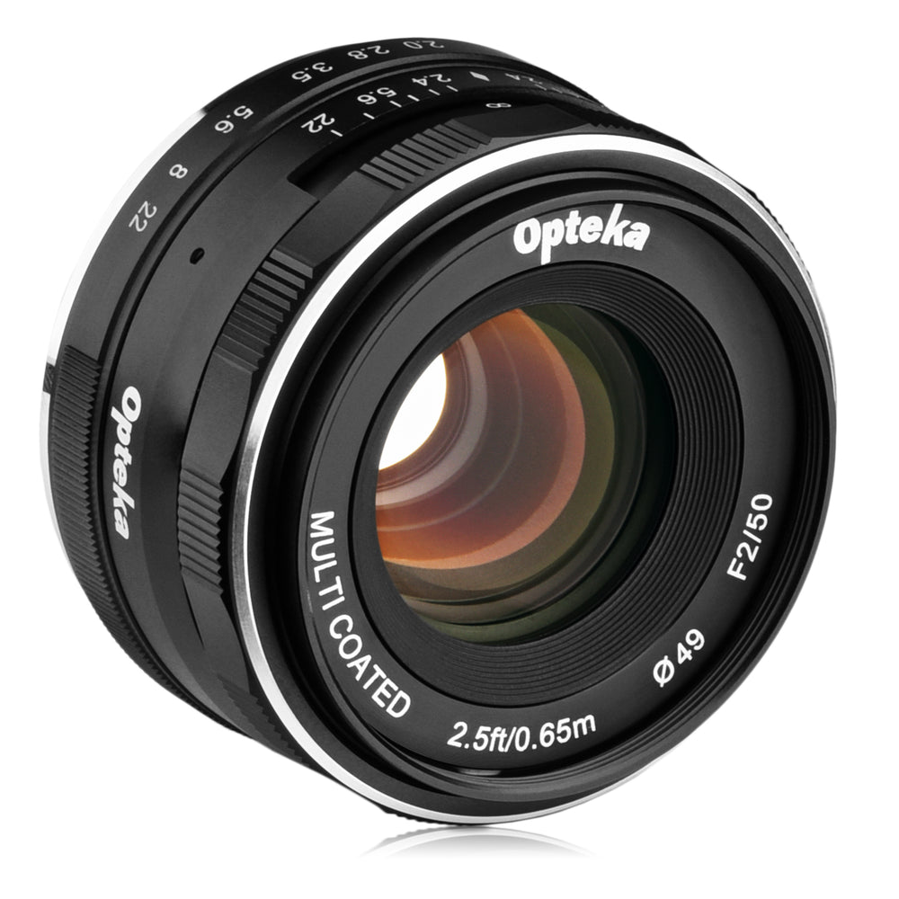 Opteka 50mm f/2.0 HD MC Manual Focus Prime Lens for M43 Mount Digital Cameras