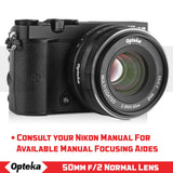 Opteka 50mm f/2.0 HD MC Manual Focus Prime Lens for Nikon 1 Mount Digital Cameras