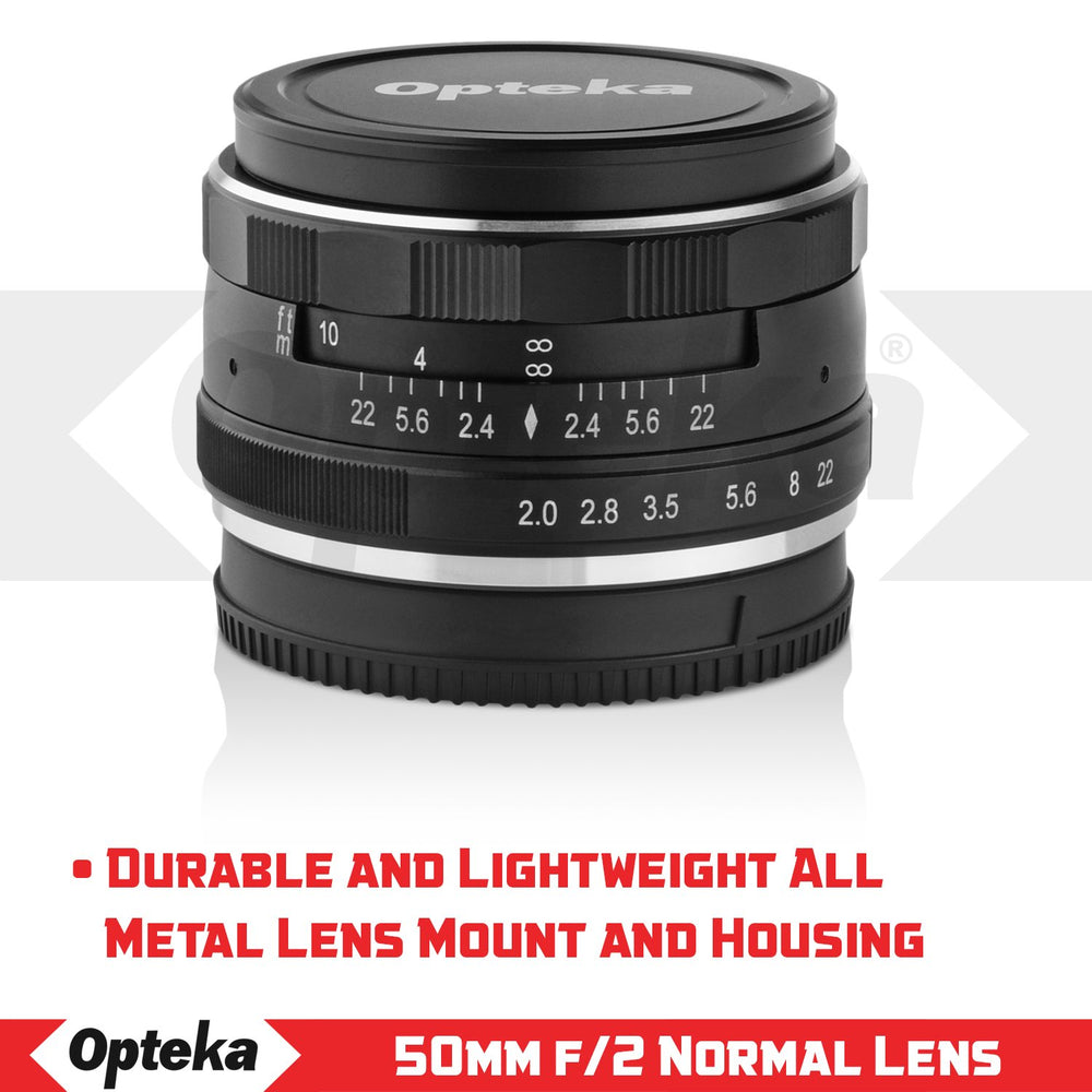 Opteka 50mm f/2.0 HD MC Manual Focus Prime Lens for Sony E Mount APS-C Digital Cameras