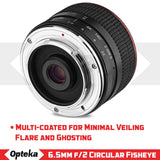 Opteka 6.5mm f/2 HD MC Manual Focus Fisheye Lens for Sony E Mount APS-C Format Digital Cameras
