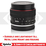 Opteka 6.5mm f/2 HD MC Manual Focus Fisheye Lens for M43 Mount Digital Cameras