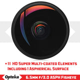 Opteka 6.5mm f/3.0 Ultra Wide Angle Manual Focus Aspherical Fisheye Lens for Canon EOS 80D, 77D, 70D, 60D, 50D, 7D, Rebel T7i, T7s, T6s, T6i, T6, T5i, T5, T4i, T3i, T3, T2i and SL2 DSLR Cameras