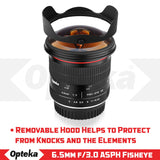Opteka 6.5mm f/3.0 Ultra Wide Angle Manual Focus Aspherical Fisheye Lens for Nikon DX D7500, D7200, D7100, D5600, D5500, D5300, D5200, D3500, D3400, D3300, D3200, D3100 and D500 DSLR Cameras