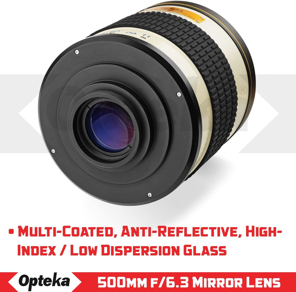 Opteka 500mm f/6.3 (with 2x- 1000mm) Telephoto Mirror Lens for Nikon F-Mount D6, D5, D4, D850, D810, D800, D780, D750, D610, D600, D7500, D7200, D5600, D5500, D5300, D3500 and D3400 DSLR Cameras