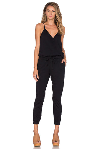 Supreme Jersey Surplice Jumpsuit In Black