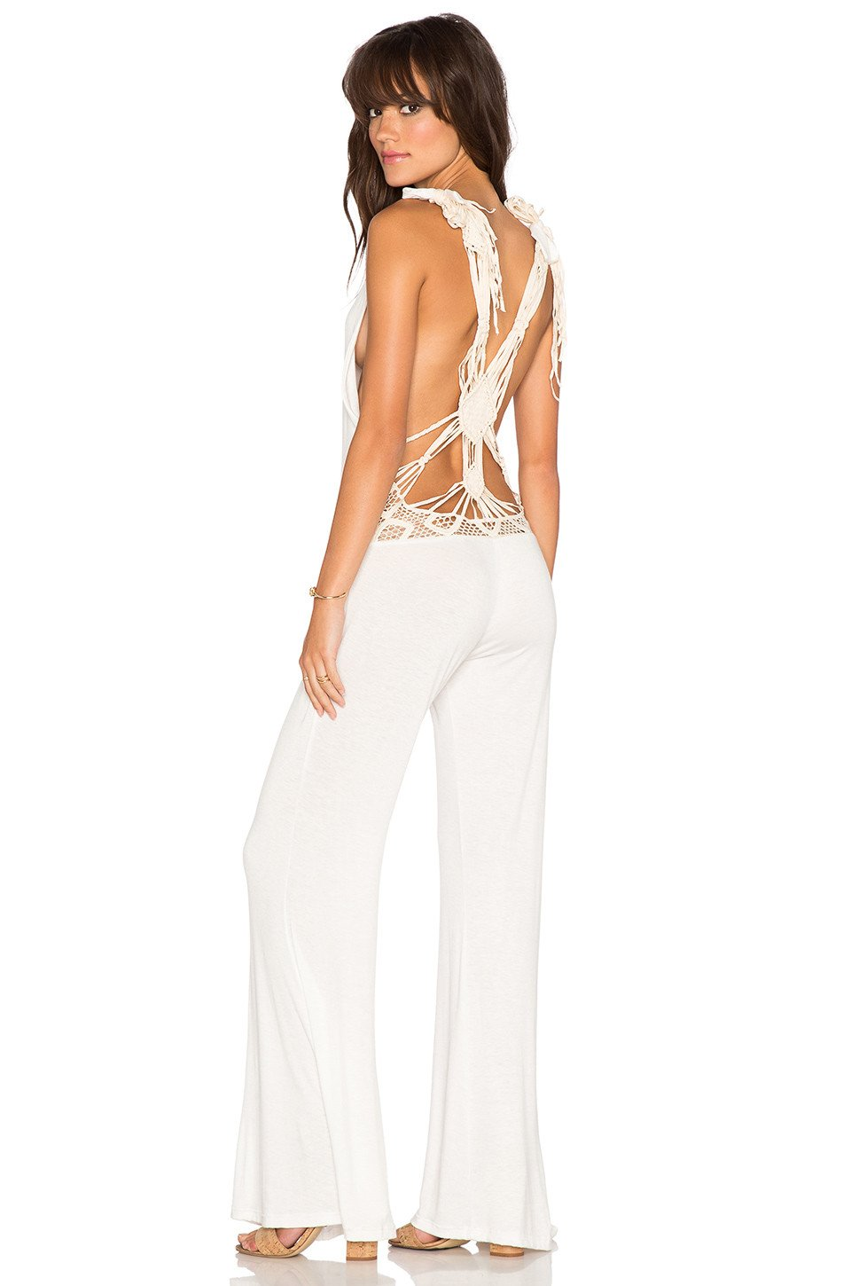 Macrame Back V Neck Jumpsuit - Kustom Label - 1
