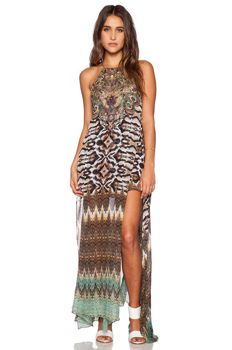 Sheer Overlay Maxi Dress - Kustom Label - 1