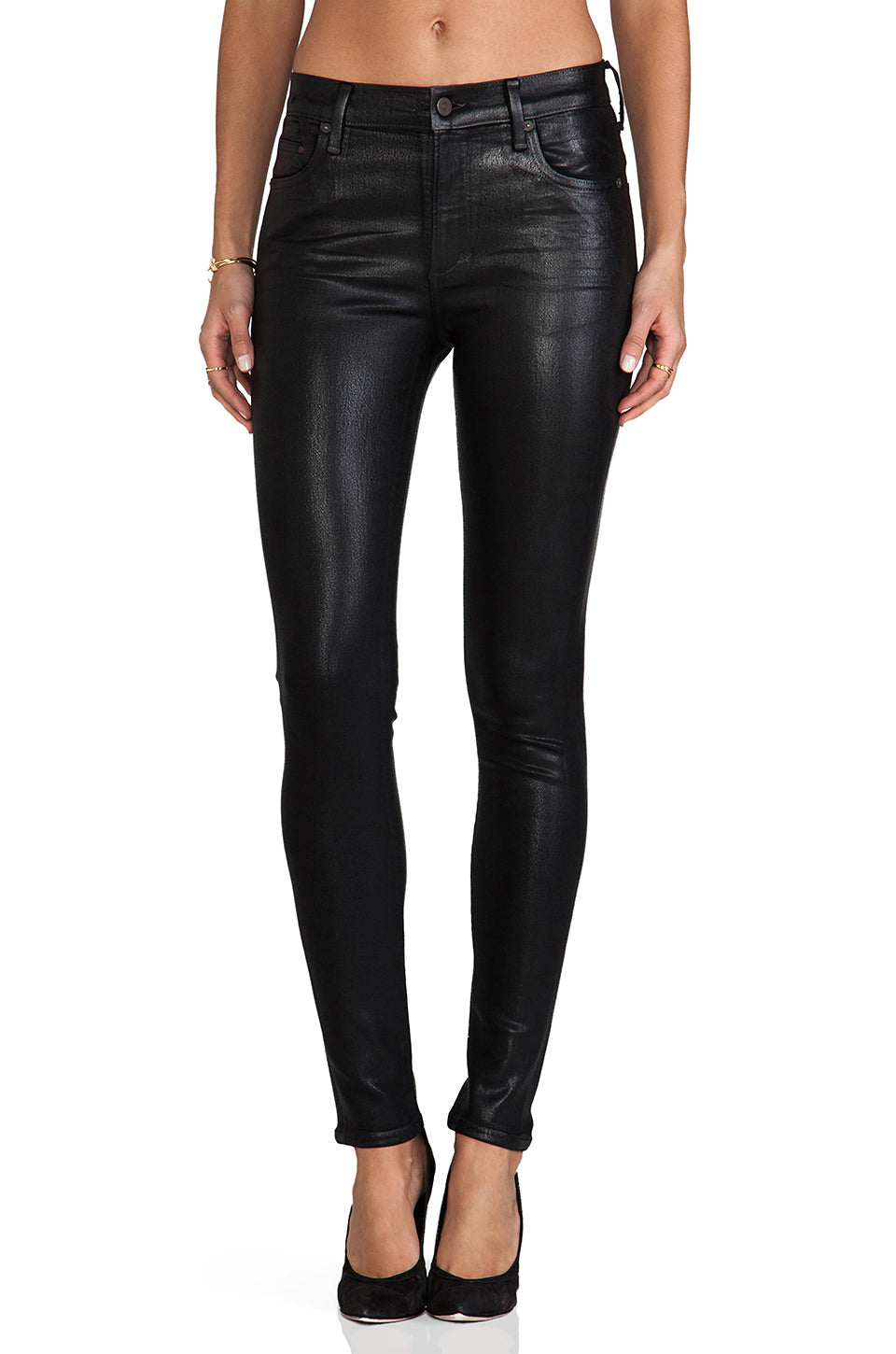 Rocket High Rise Coated Skinny In Black