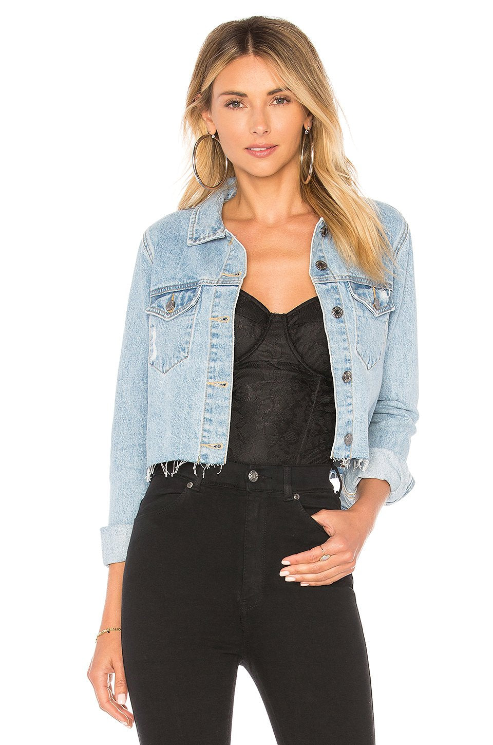 Jeanie Denim Cropped Jacket in Light Retro Ripped