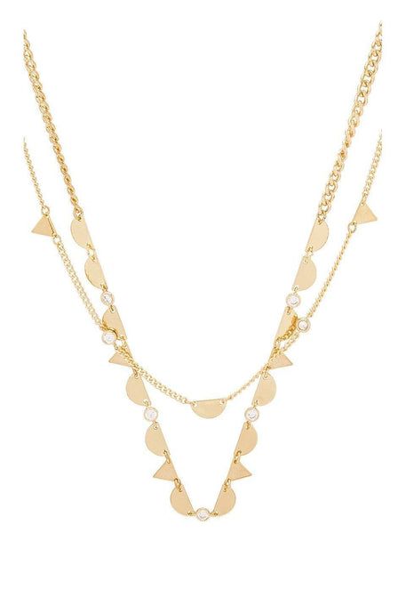 Layered Geometric Necklace in Gold