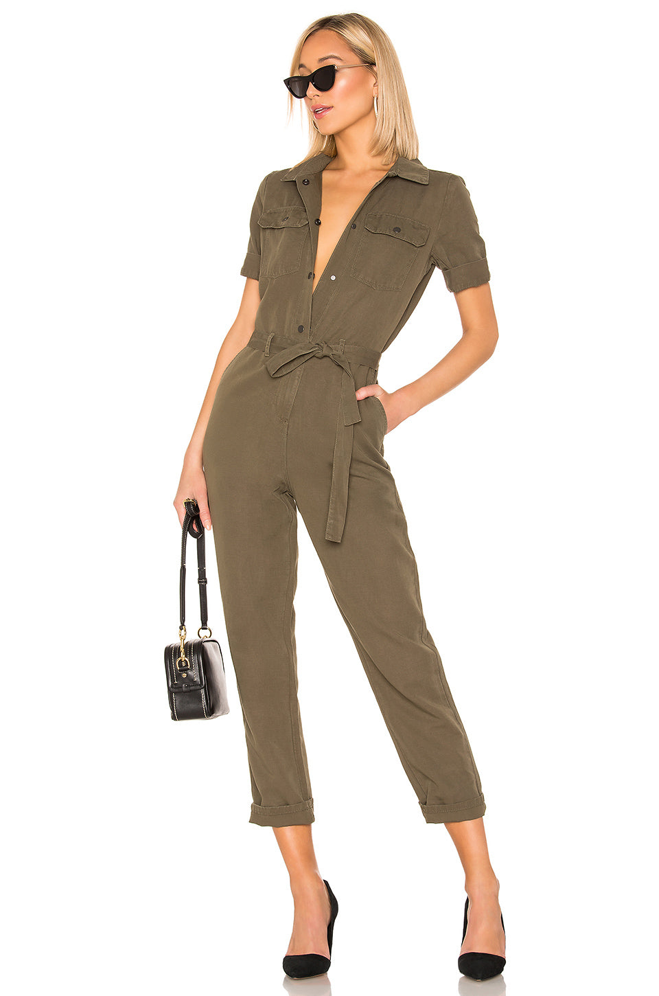 Belted Jumpsuit in Army Green