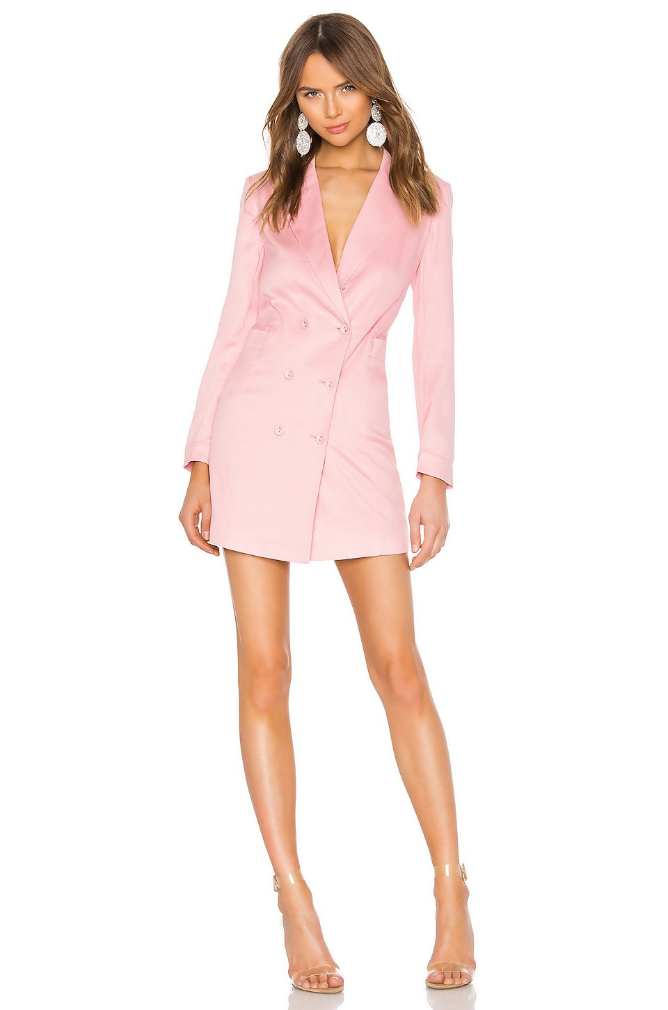 Double Breasted Blazer Dress in Coral Blush