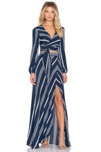 Load image into Gallery viewer, Wrap It Up Skirt in Sapphire Stripe