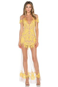 Mustard Sheer Lace Maxi Dress - Kustom Label - 1