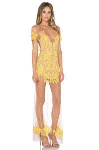 Mustard Sheer Lace Maxi Dress - Kustom Label - 2