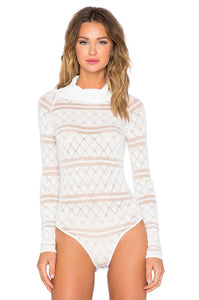 White Knit Bodysuit - Kustom Label - 3