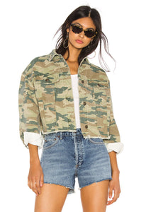 Camo Printed Denim Jacket in Botanical Combo