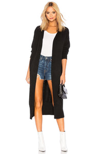 Cardigan With Banded Hem in Black