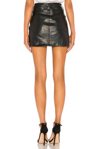 Zamira A-Frame Gusset Leather Skirt in Midnight Hour