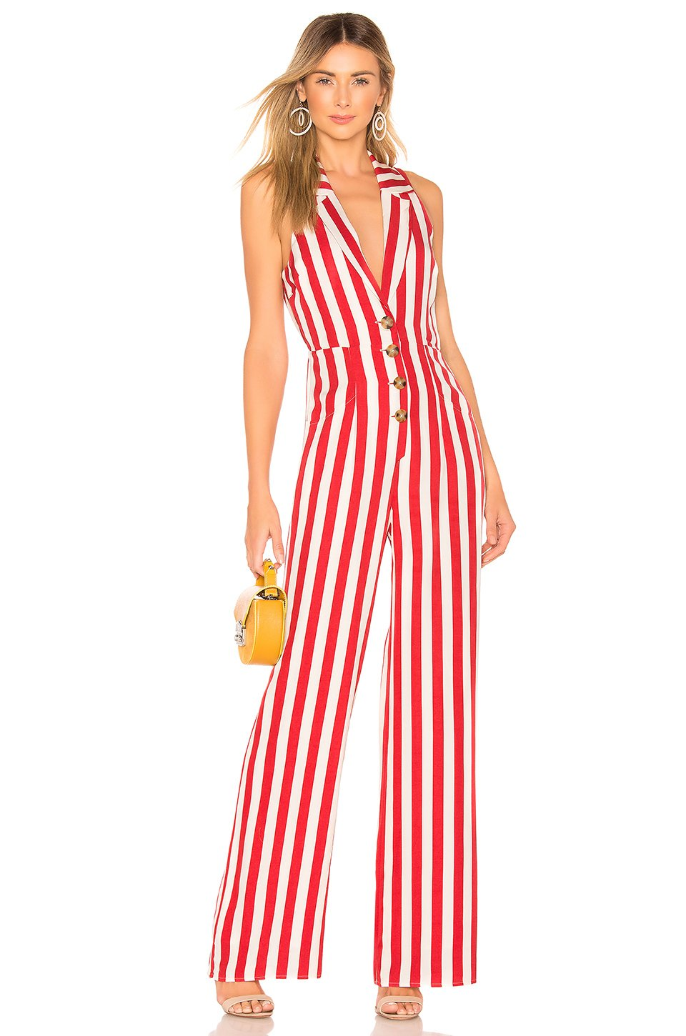 Marjorie Jumpsuit in Red & White Stripe