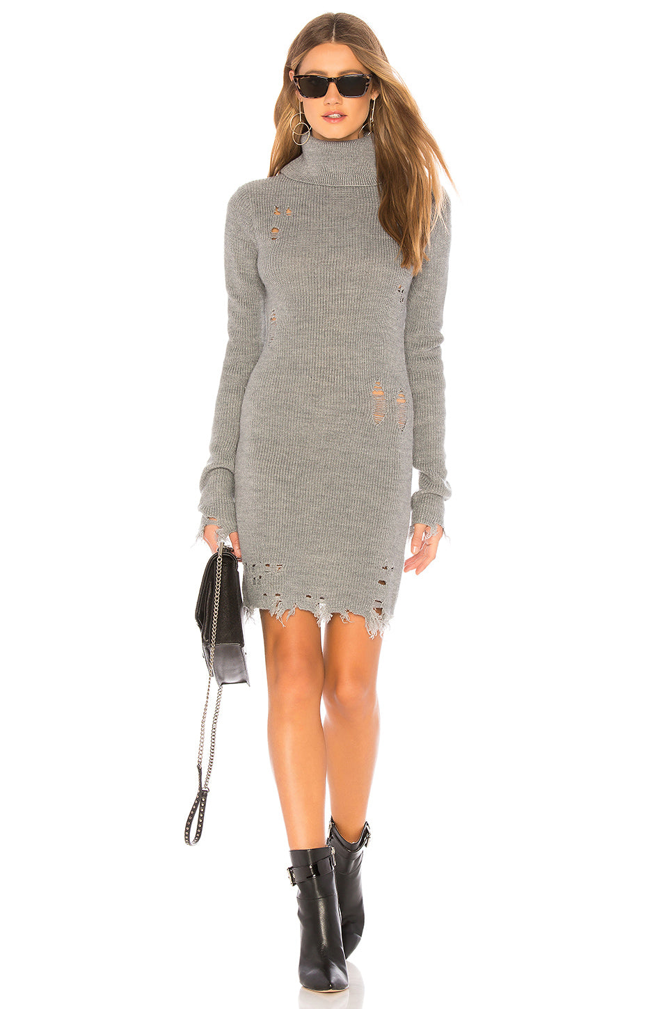 Keeney Mini Sweater Dress in Grey