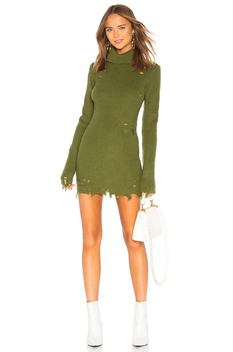 Keeney Mini Sweater Dress in Army Green
