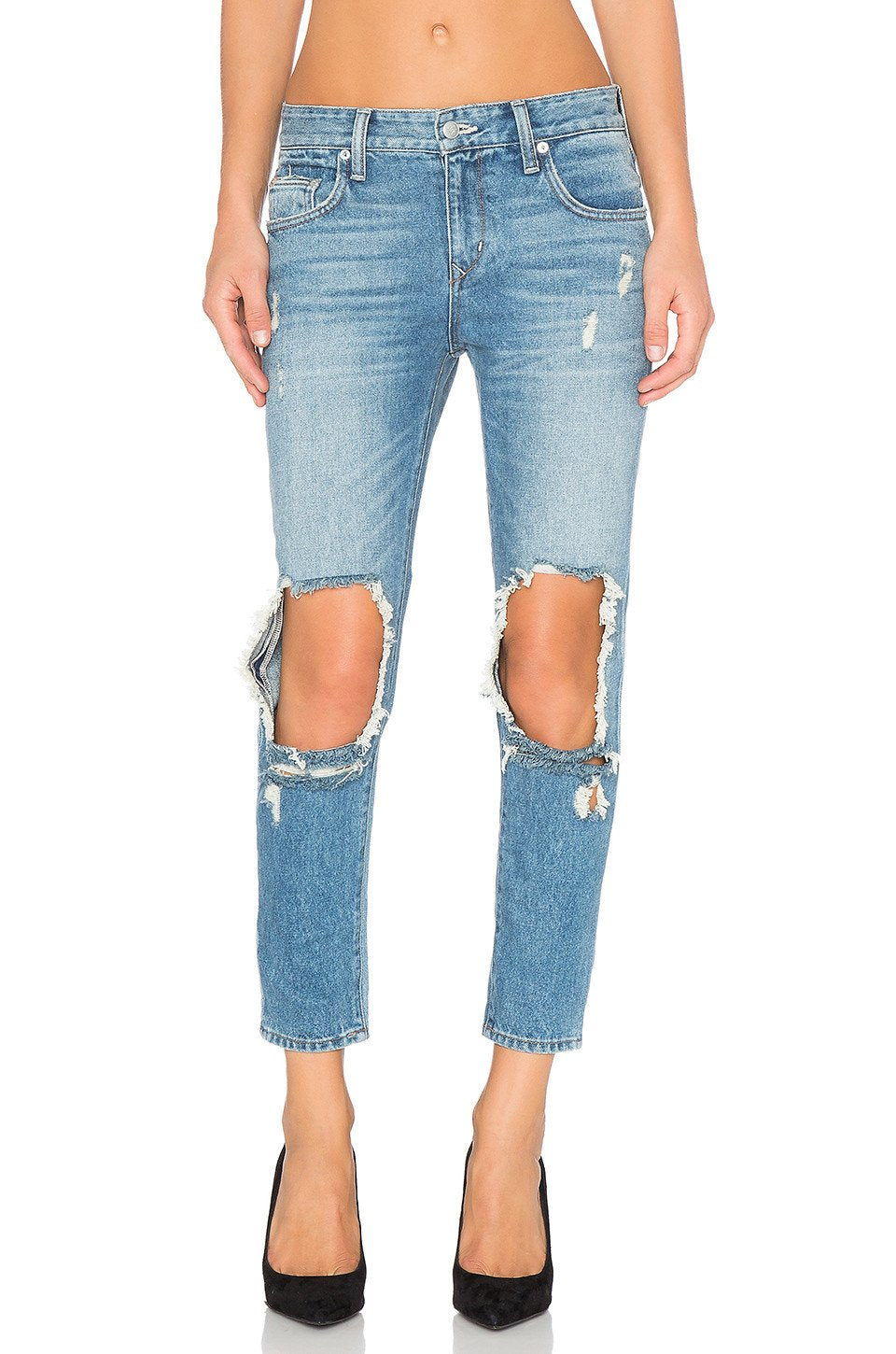 Ezra Cropped Slim Boyfriend Jean - Kustom Label - 1