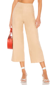 Dennis Wide Leg Taupe Cropped Pant in Natural