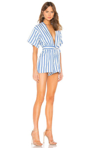 Simon Romper in White & Blue