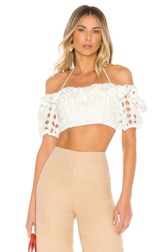 Cynthia Laser Cut Bohemian Cropped Top in White