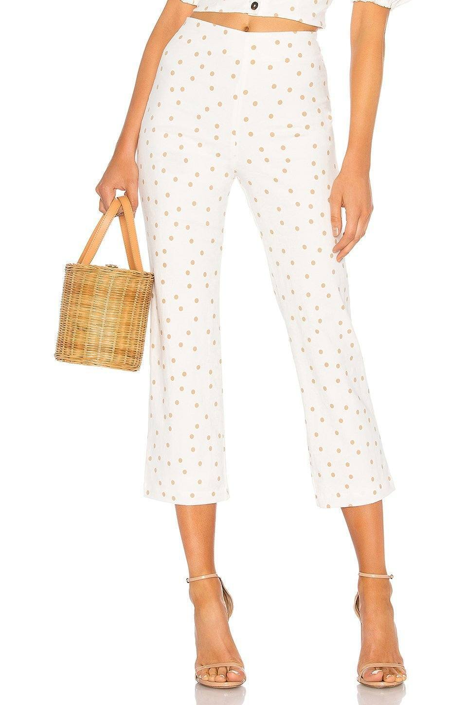 Polka Dot Cropped Pant in Tan & White