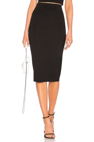 Fitted Midi Skirt in Black
